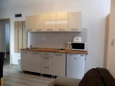 Balatonlellén a Balatontól 150 méterre új építésű apartmanházban tetőtéri egylégteres apartman kiadó max 2+1 fő részére E.6. jelű apartman